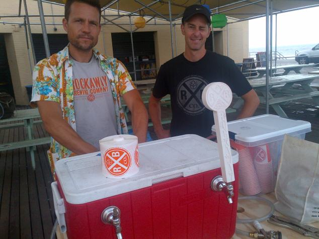Co-owners (and brewers) Marcus Burnett and Ethan Long during happier times in Rockaway - i.e. pre-Sandy.