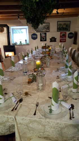 The food and beer that followed made this table setting look practically rustic!